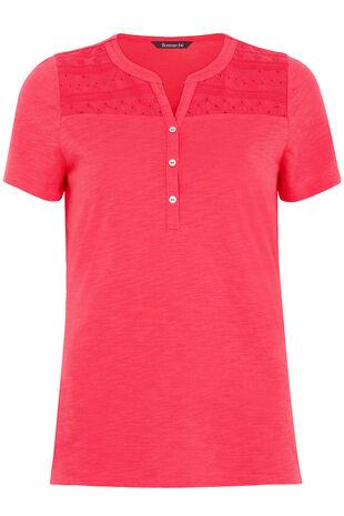 Broderie Yoke Stand Collar T-Shirt