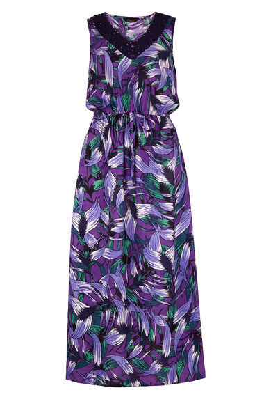 Tropical Leaf Print Casual Maxi Dress