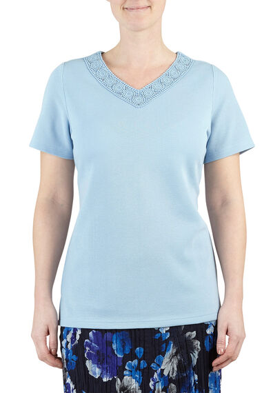 Pearl Lace V Neck T-Shirt