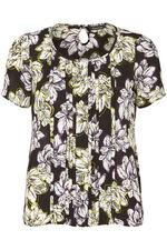 Short Sleeve Daisy Print Pintuck Blouse
