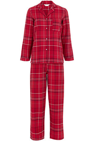 Red Woven Check Button Pyjama