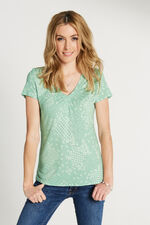 Patchwork Printed V Neck Gathered Top