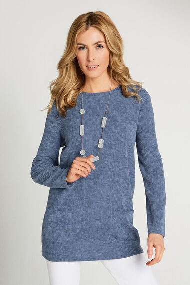 Textured Long Sleeved Tunic With Pockets