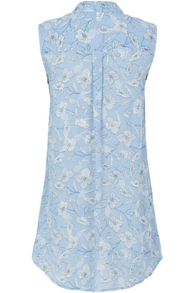 Floral Print Sleeveless Button Through Blouse
