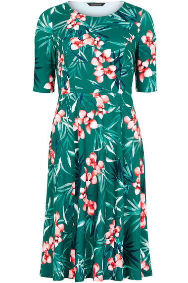 Orchid Print Fit and Flare Dress