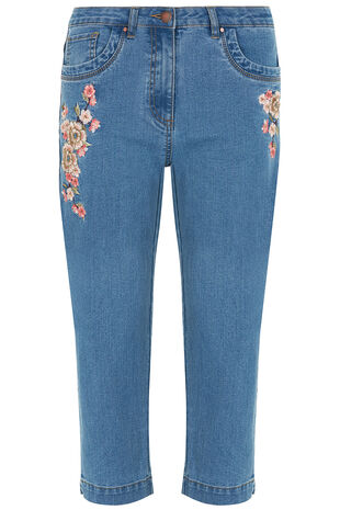 Embroidered Denim Capri