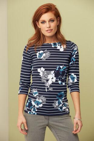 Print & Stripe Boat Neck T-Shirt