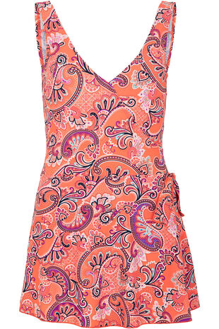 Paisley Print Tie Side Swim Dress