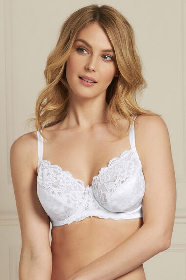 Embossed Lace Trim Underwired Bra