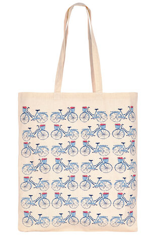 Bicycle Print Cotton Shopper Bag