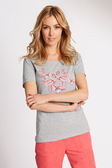 Flamingo Placement Print T-Shirt