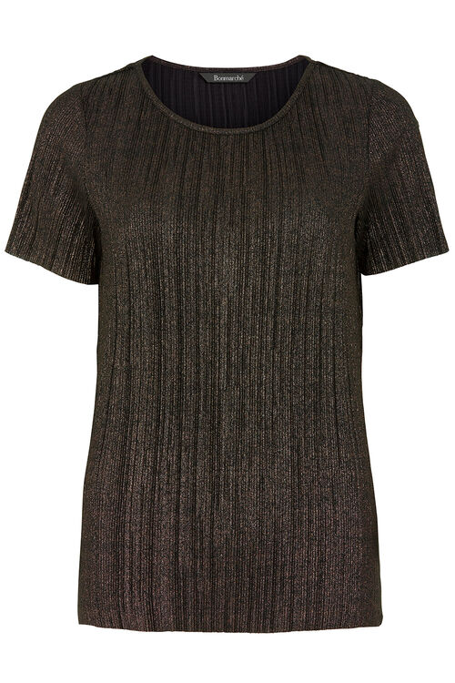Pleated Metallic Shell Top