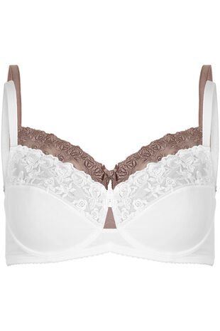 Two Pack Embroidery Trim Underwired Bra