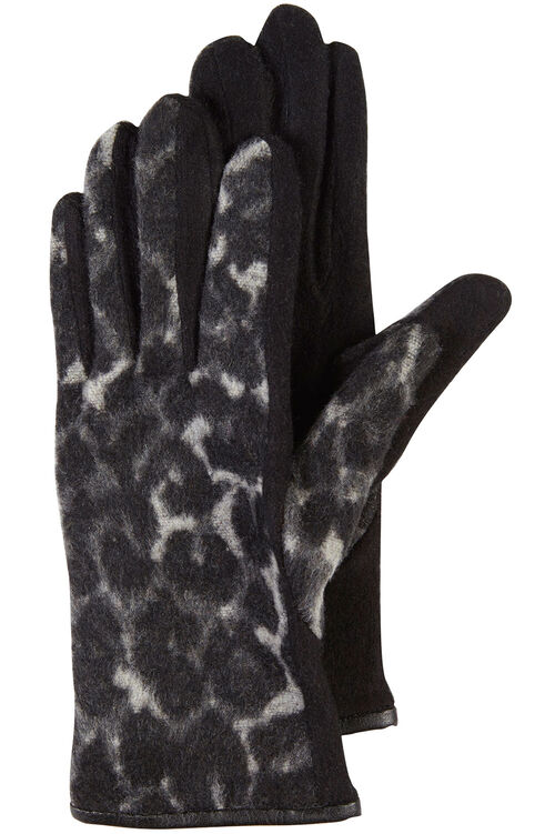 Animal Print Gloves with Faux Leather Edging