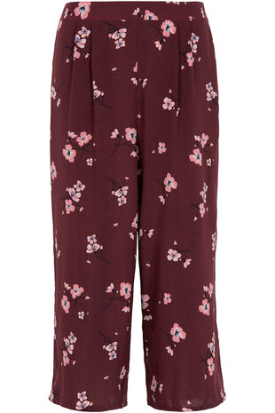 Blossom Print Wide Leg Cropped Trousers