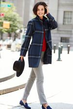 Checked Funnel Neck Coat