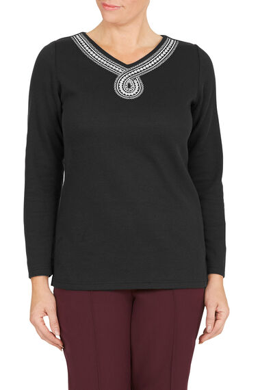 Embroidered Figure of Eight Rib Back T-Shirt