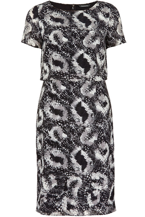 David Emanuel Snake Print Two Layer Dress