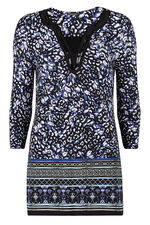 Animal Border Sequin Neck Tunic Top