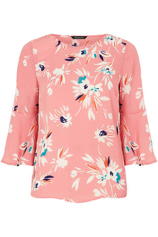 Floral Print Fluted Sleeve Blouse