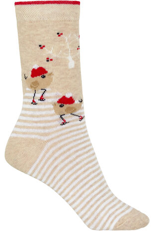 Christmas Robin Socks