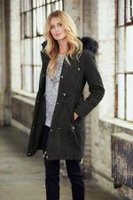 Faux Fur Trimmed Padded Parka