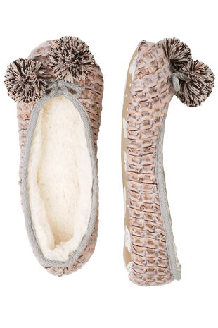 Textured Knit Pom Pom Ballerina Slipper