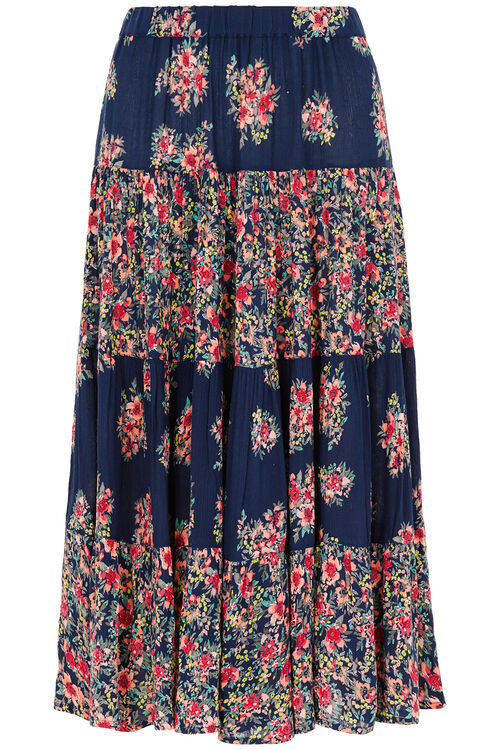 Printed Crinkle Tiered Skirt