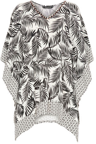 Palm Print Kaftan With Beaded Neckline