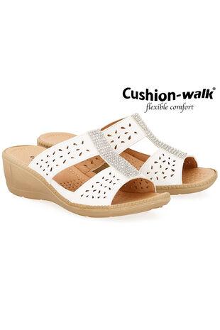 Cushion Walk Diamante Slip On Wedge Sandal