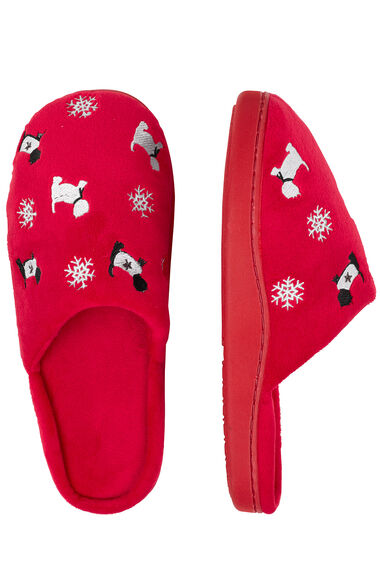 Embroided Snowflake & Westie Slipper