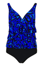 3 Frill Abstract Print Swimsuit