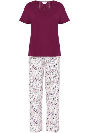 Burgandy Top Ditsy Floral Pant Gift PJ
