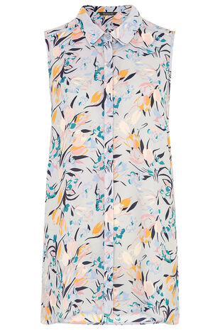 Abstract Print Sleeveless Shirt