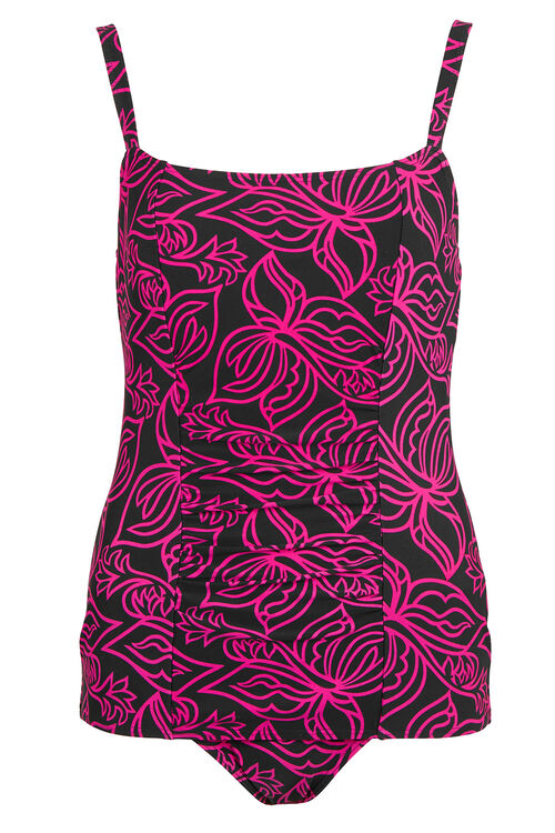 Pink Floral Outline Ruched Front Swimsuit