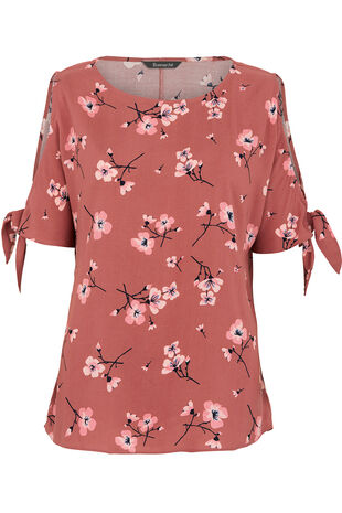 Cold Shoulder Blossom Print Top