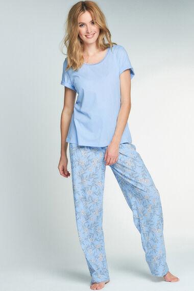 Blue Top Winter Floral Pant PJ