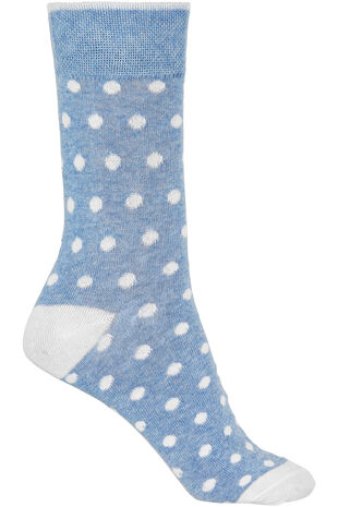 Blue Marl Polka Dot Socks
