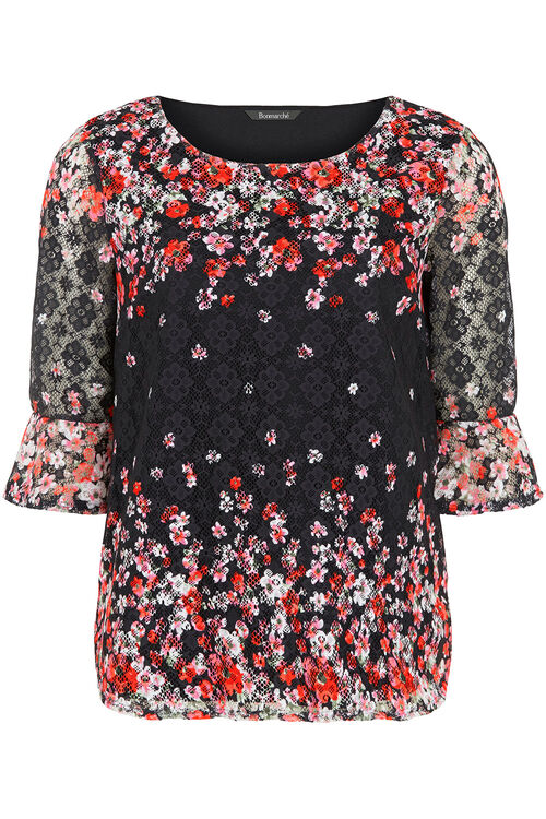 Floral Printed Lace Top With Fluted Sleeves