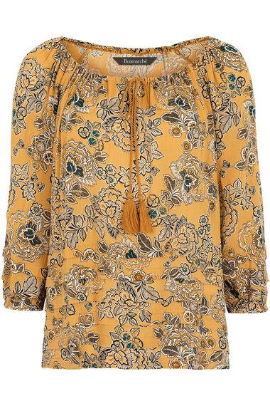 Printed Crinkle Gypsy Blouse