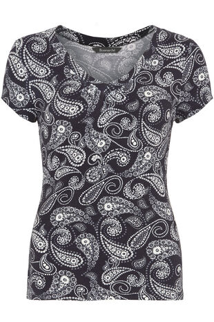 Paisley Print V Neck Short Sleeve Top
