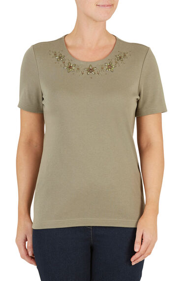 Beaded Embroidered T-Shirt