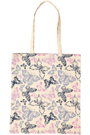Butterfly Print Cotton Shopper Bag