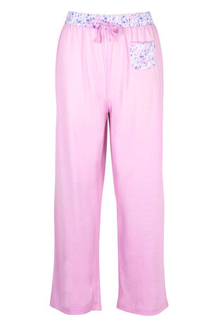 Butterfly Floral Trim Pink Pyjama Bottoms