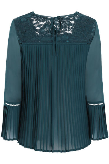 Lace Detail Pleated Back Blouse