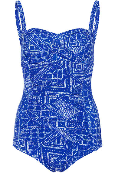 Geo Print Ruched Front Swimsuit