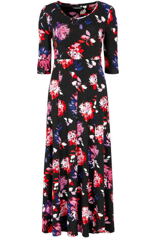 3/4 Sleeve Floral Maxi Dress