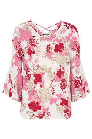 Floral Printed Fluted Sleeve Blouse