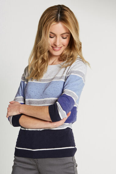 Cotton Bobble Colour Block Jumper