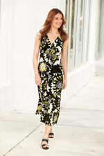Abstract Floral Knot Front Maxi Dress